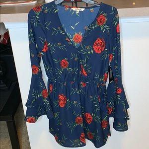Long-Sleeve Rose Dress